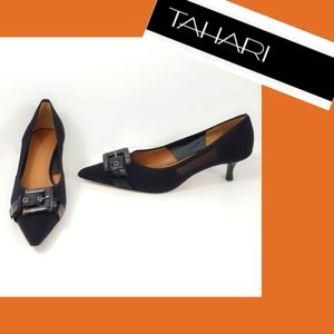 Tahari Leather Buckle Low Pump Size 8.5M